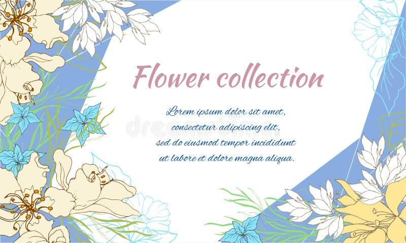 Cartão da mola com flores delicadas em um fundo azul Quadro para o texto, os cumprimentos e os desejos Estilo do vintage ilustração stock