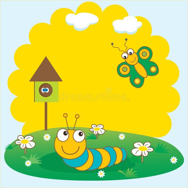 cartão da mola com lagarta e borboleta. ilustração stock