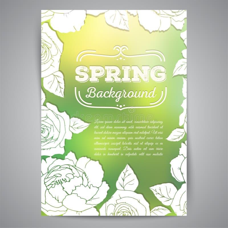 Cartão da mola com rosas e fundo borrado ilustração royalty free