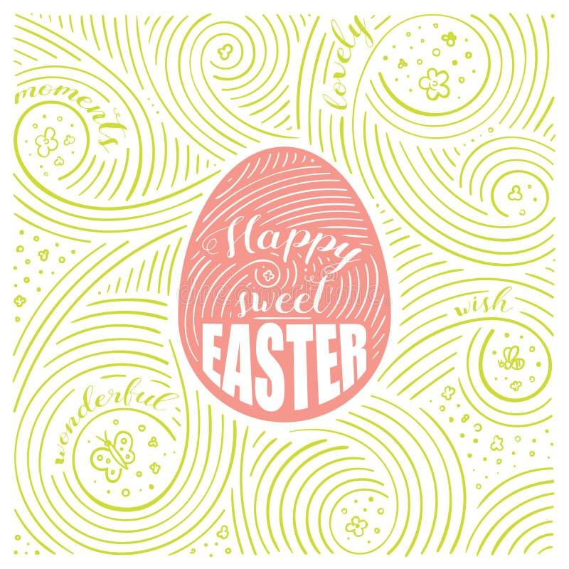 Cartão da mola A rotulação - Páscoa doce feliz Projeto da Páscoa Teste padrão escrito à mão do redemoinho ilustração royalty free