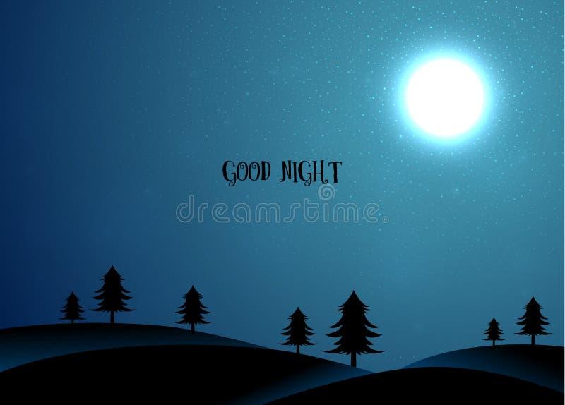Cartão da natureza com árvores e lua ilustração stock
