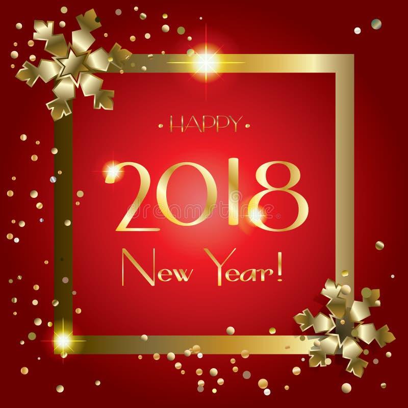 Cartão da neve do ouro do ano 2018 novo feliz ilustração stock