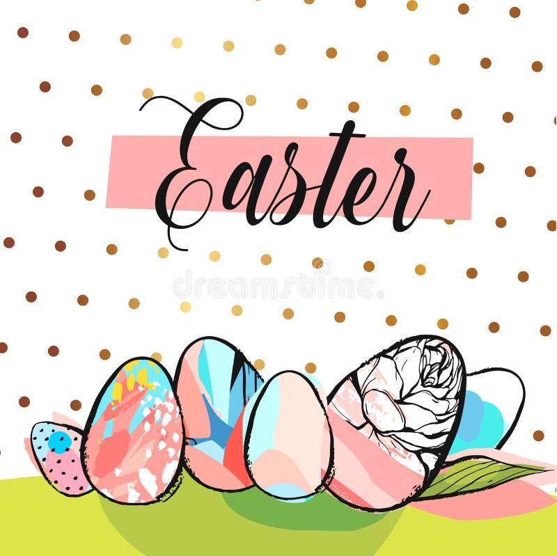 Cartão da Páscoa com ovos e as orelhas coloridos do coelho no fundo verde ilustração do vetor