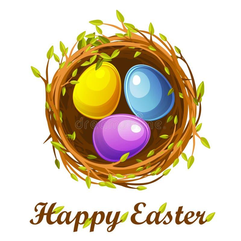 Cartão da Páscoa, ninho do pássaro e ovos da cor ilustração royalty free