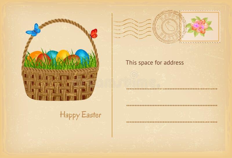 Cartão da Páscoa no estilo do vintage com a cesta de easter com ovos e grama dos easters Cartão de cumprimentos feliz da celebraç ilustração stock
