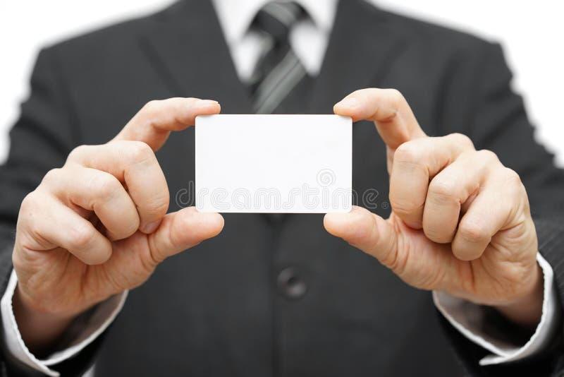 Cartão da posse do homem de negócios, identidade da empresa imagens de stock