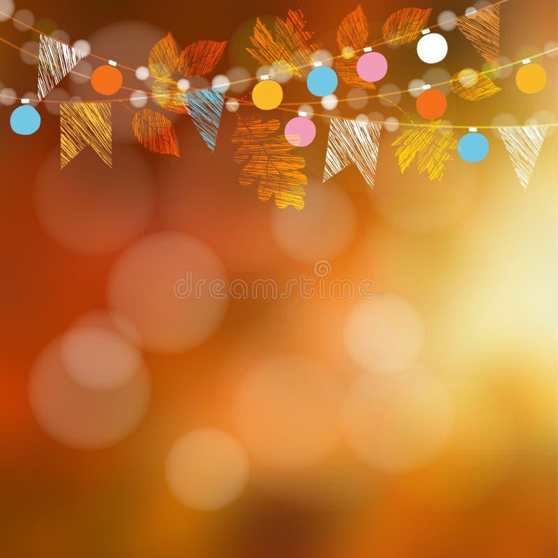 Cartão da queda do outono, bandeira Decoração do partido de jardim Festão do carvalho, folhas de bordo, luzes, bandeiras do parti ilustração do vetor