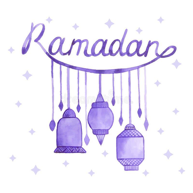 Cartão da ramadã da aquarela ilustração stock