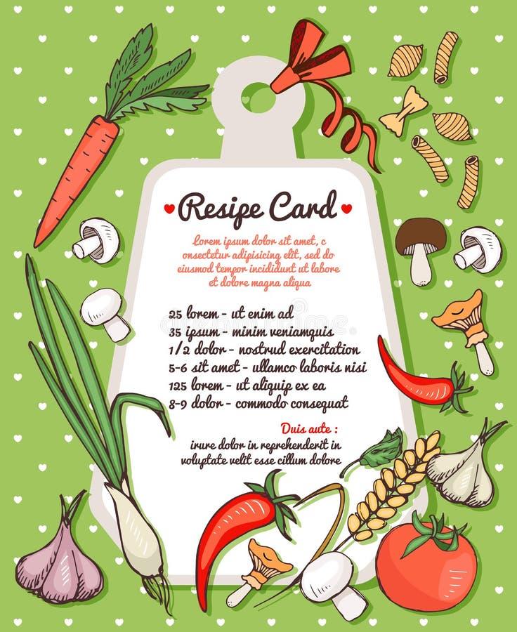 Cartão da receita com legumes frescos e massa ilustração royalty free