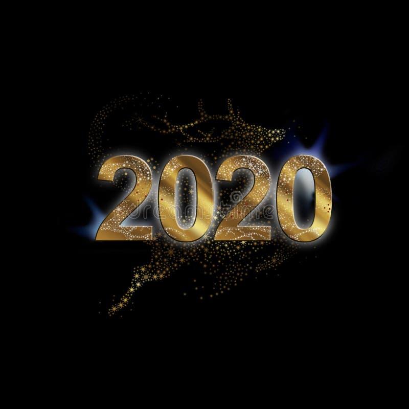 Cartão da rena de Chrismas para 2020 foto de stock royalty free