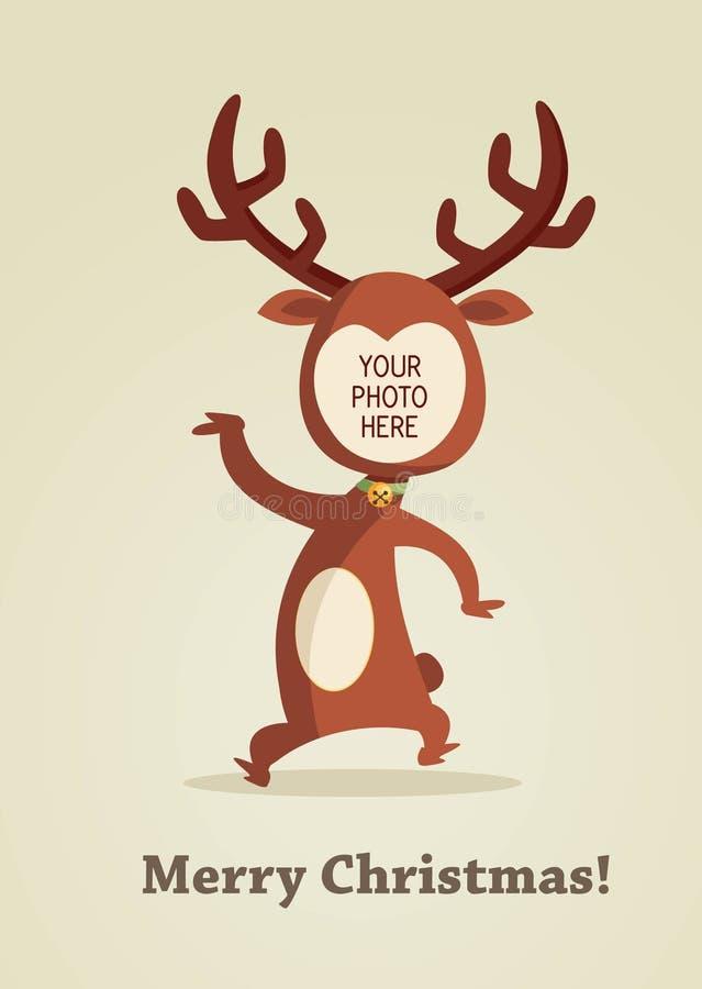 Cartão Da Rena Do Natal Com Lugar Para Sua Foto Imagem de Stock