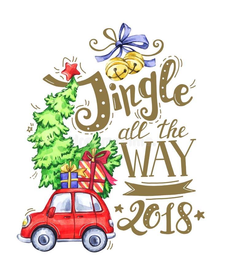 Cartão da rotulação desenhado à mão, carro da aquarela com árvore e decorações dos feriados ilustração royalty free