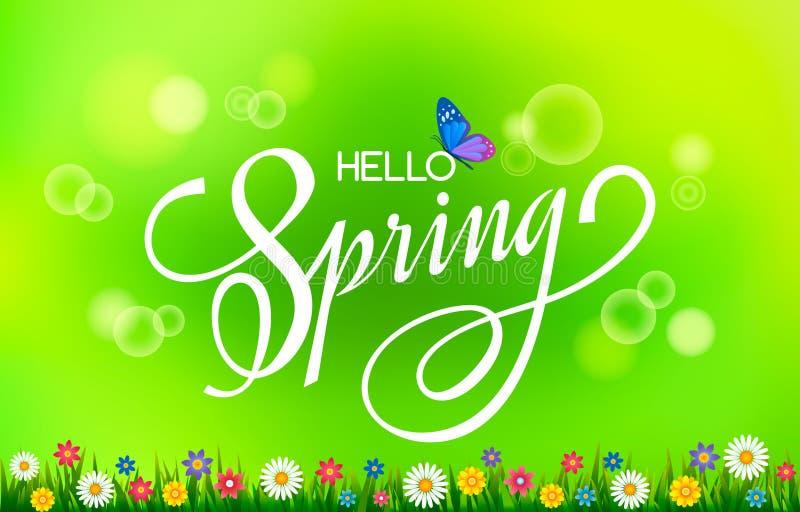 Cartão da rotulação Rotulação escrita à mão Olá! mola! em flores do prado de um fundo verde-claro e da mola ilustração royalty free
