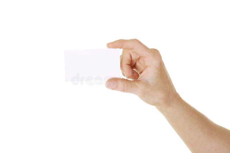 Cartão da terra arrendada da mão foto de stock