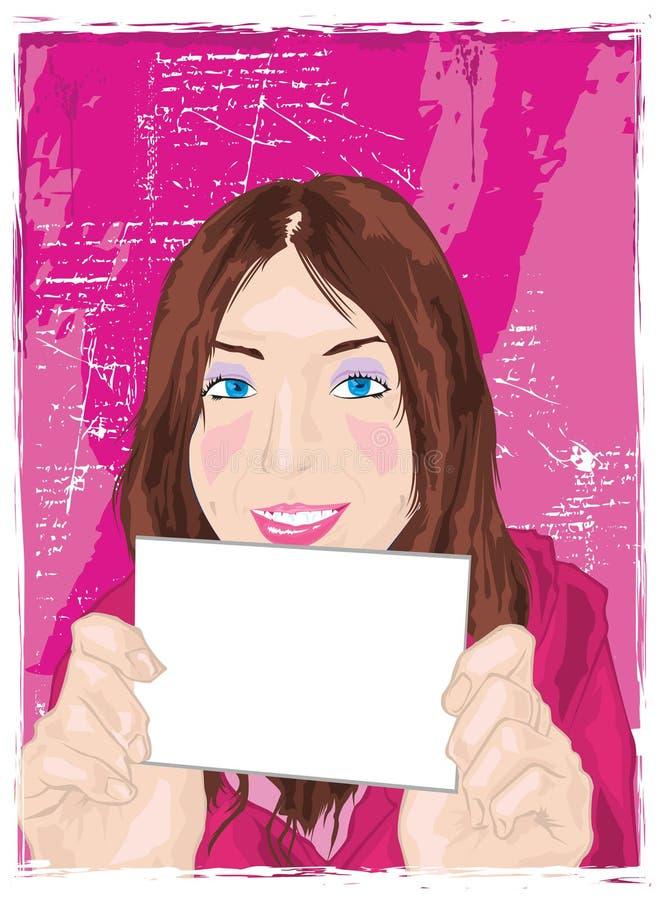 Cartão da terra arrendada da mulher ilustração stock