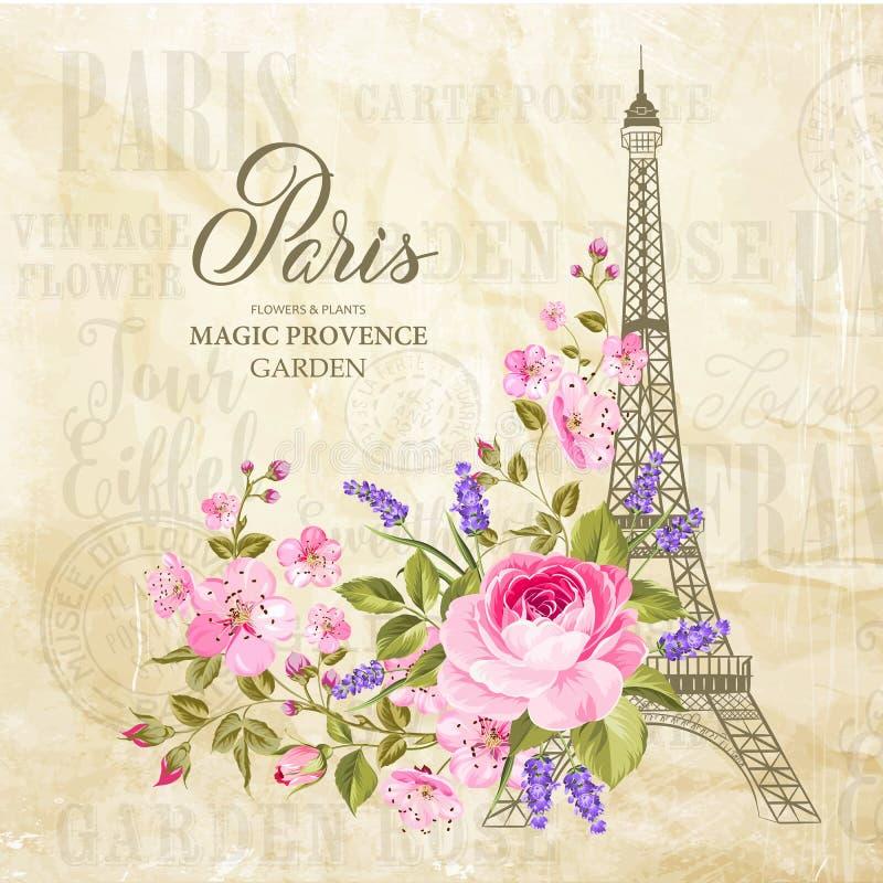 Cartão da torre Eiffel ilustração stock