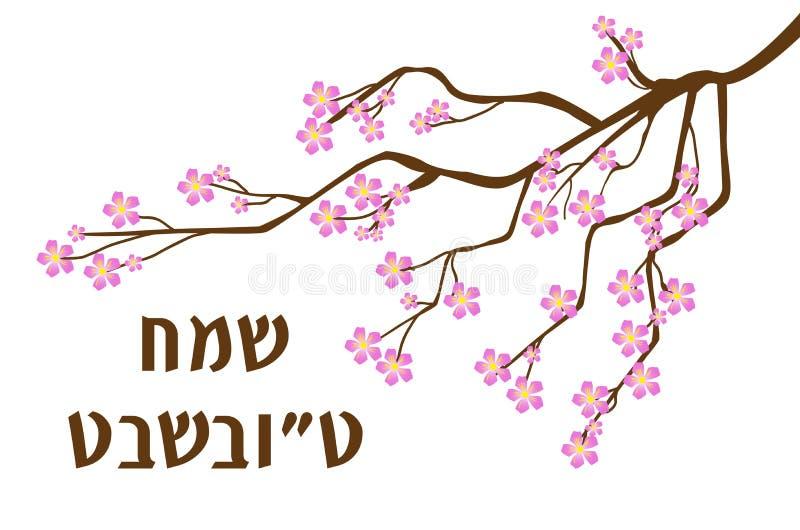 Cartão da Turquia Bishvat, cartaz Feriado judaico, ano novo de árvores árvore de florescência Ilustração do vetor ilustração do vetor