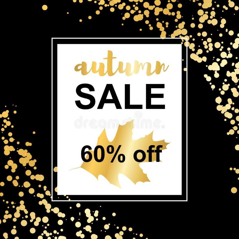 Cartão da venda do outono do ouro no fundo dos confetes ilustração stock