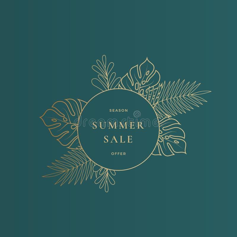Cartão da venda do verão das folhas de Monstera ou molde tropical redondo da bandeira Composição da propaganda da folha do sumári ilustração royalty free