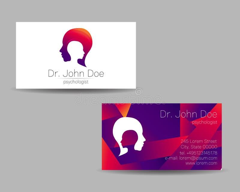 Cartão da visita do vetor da psicologia Logotipo moderno Estilo creativo Conceito de projeto ilustração royalty free