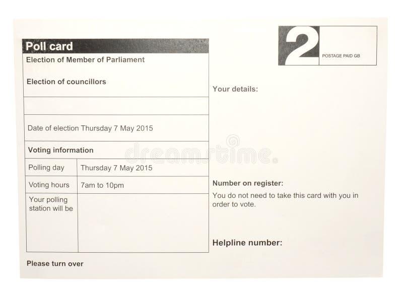 Cartão da votação da eleição fotografia de stock