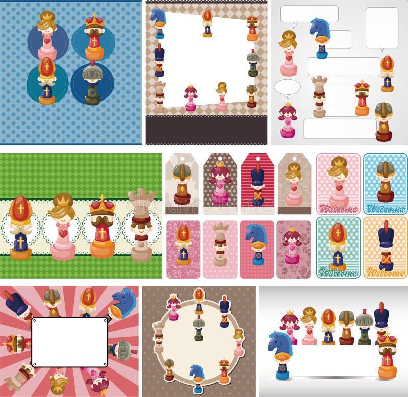 Cartão da xadrez dos desenhos animados ilustração stock