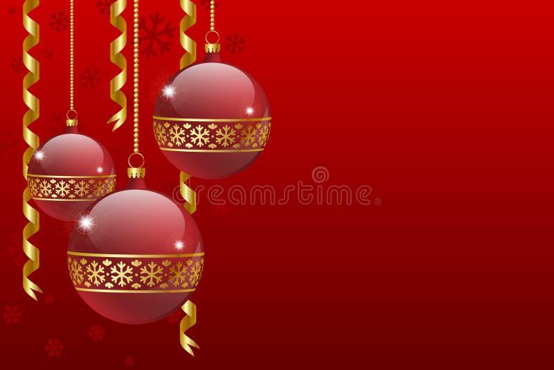 Cartão das esferas do Natal ilustração royalty free