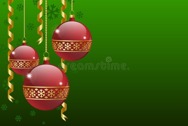 Cartão das esferas do Natal ilustração stock