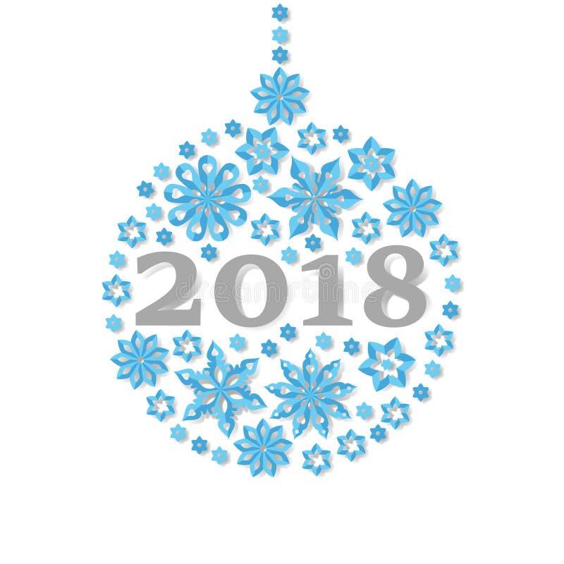 Cartão 2018 das felicitações do feriado da bola do Natal do floco de neve do ano novo feliz ilustração stock