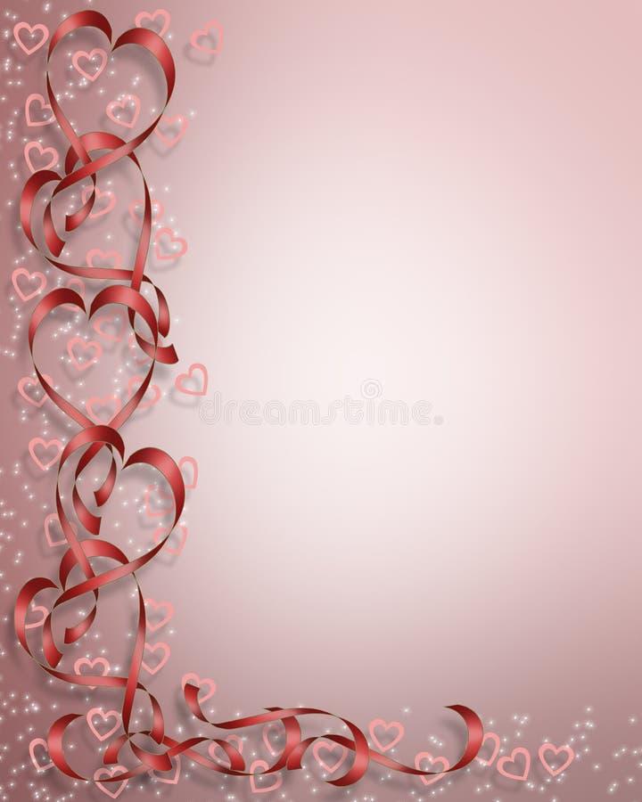 Cartão das fitas dos corações do Valentim ilustração do vetor