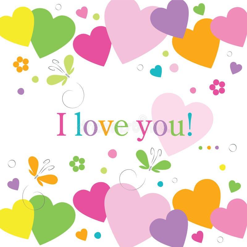 Cartão das flores e das borboletas dos corações eu te amo ilustração stock