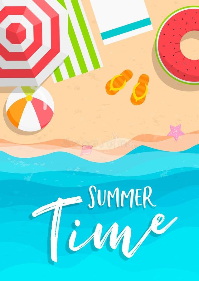 Cartão das horas de verão de férias da praia na vista superior ilustração do vetor