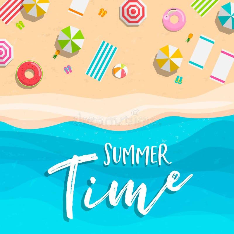 Cartão das horas de verão de férias tropicais da praia ilustração stock