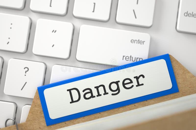 Cartão de índice do tipo com perigo 3d ilustração stock