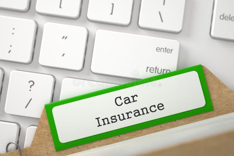 Cartão de índice do tipo com seguro de carro 3d foto de stock royalty free