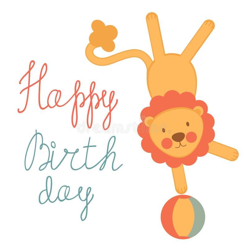 Cartão de aniversário bonito com leão do circo ilustração royalty free