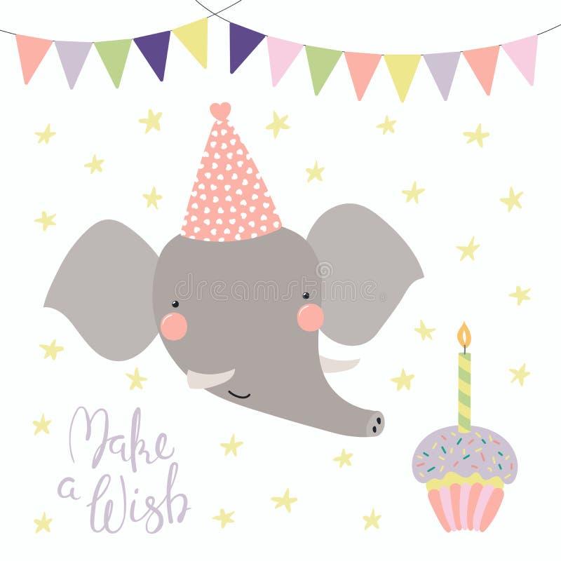 Cartão de aniversário bonito do elefante ilustração stock