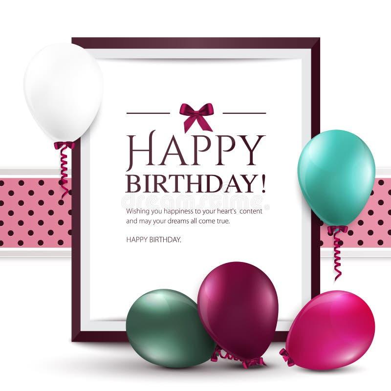 Cartão de aniversário com balões e quadro ilustração royalty free