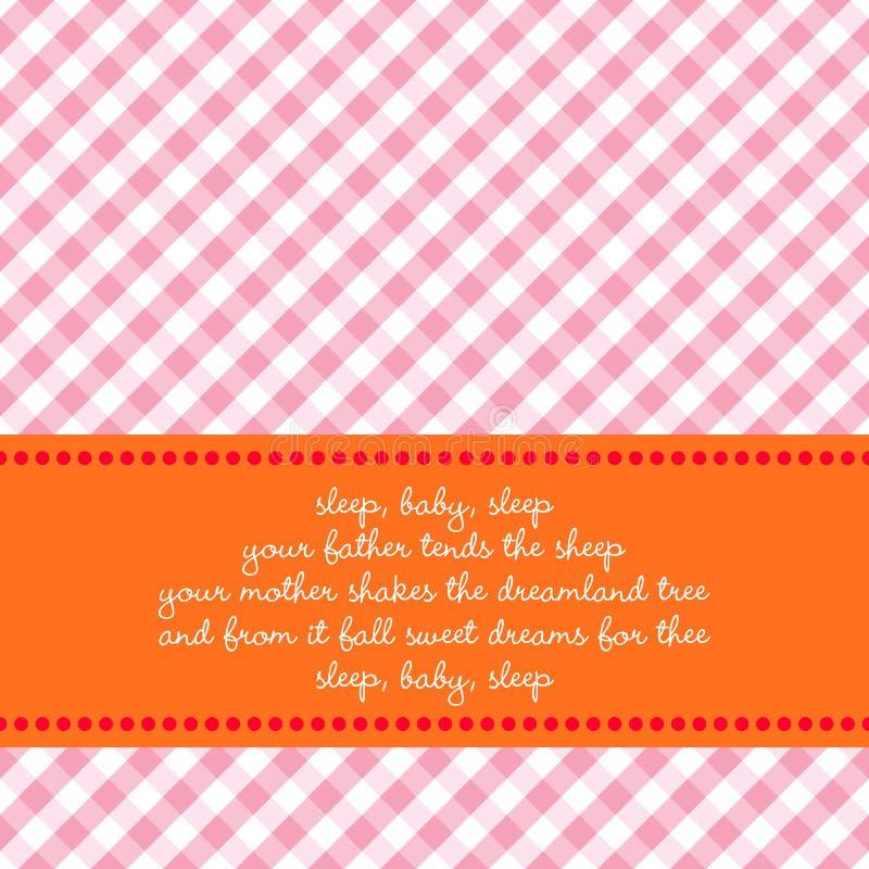 Cartão de aniversário com canção de ninar do bebê ilustração royalty free