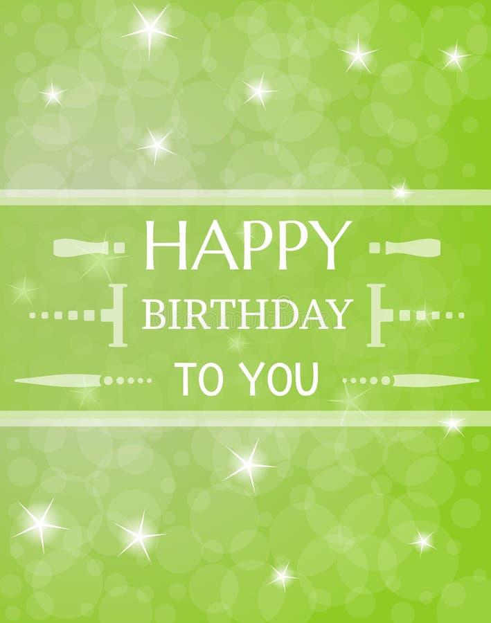 Cartão de aniversário com estrelas shinning ilustração stock