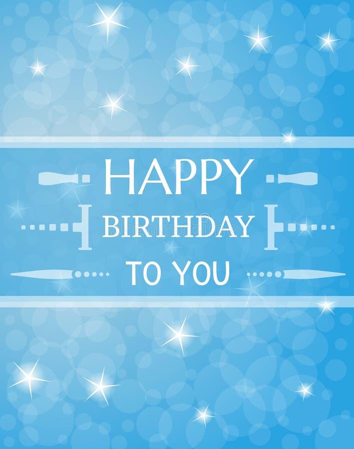 Cartão de aniversário com estrelas shinning ilustração royalty free