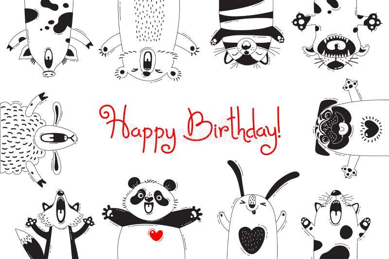 Cartão de aniversário com os carneiros engraçados Cat Pug Panda Rabbit do Fox do urso do porco dos animais ilustração royalty free