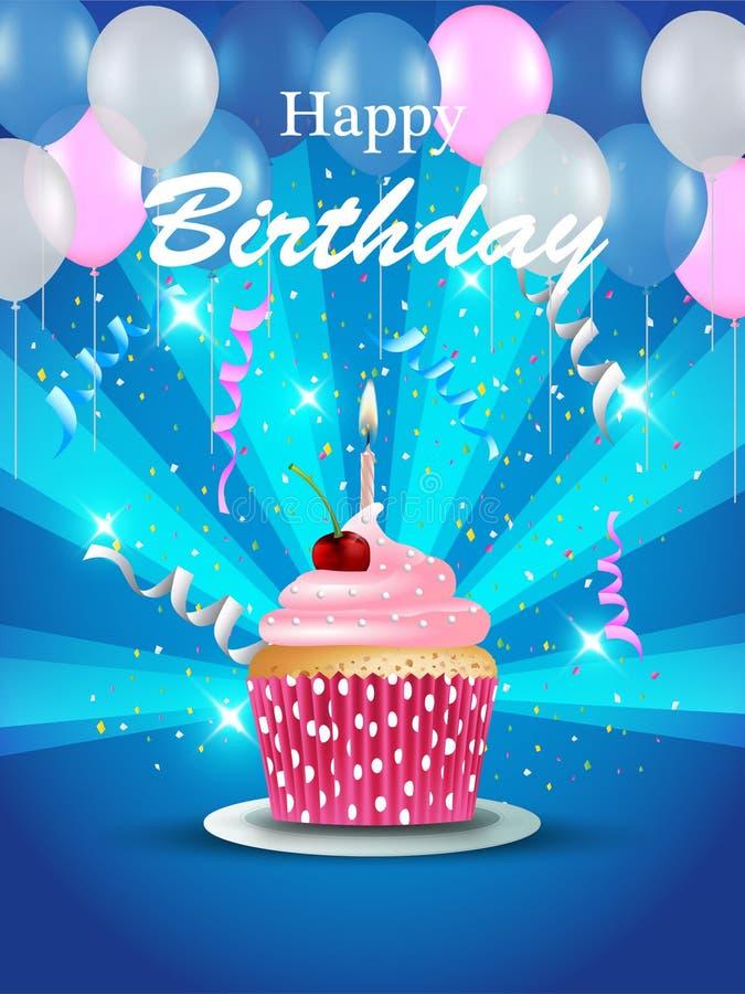 Cartão de aniversário com queque ilustração stock