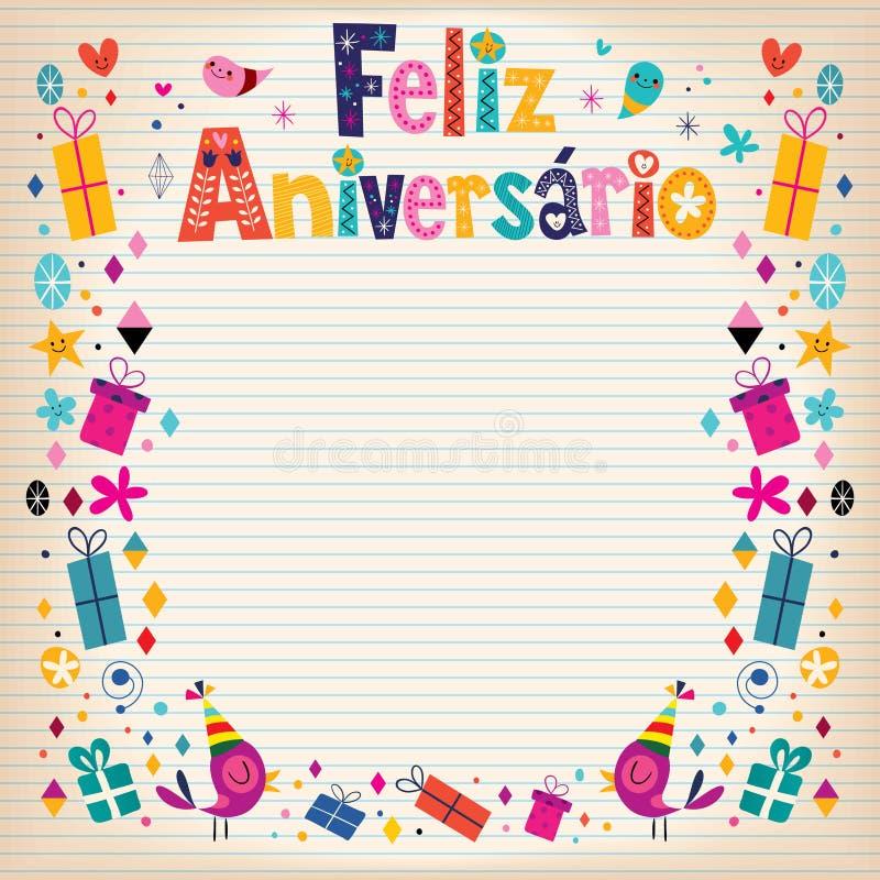 Cartão de aniversário de Feliz Aniversario Brazilian Portuguese Happy ilustração royalty free
