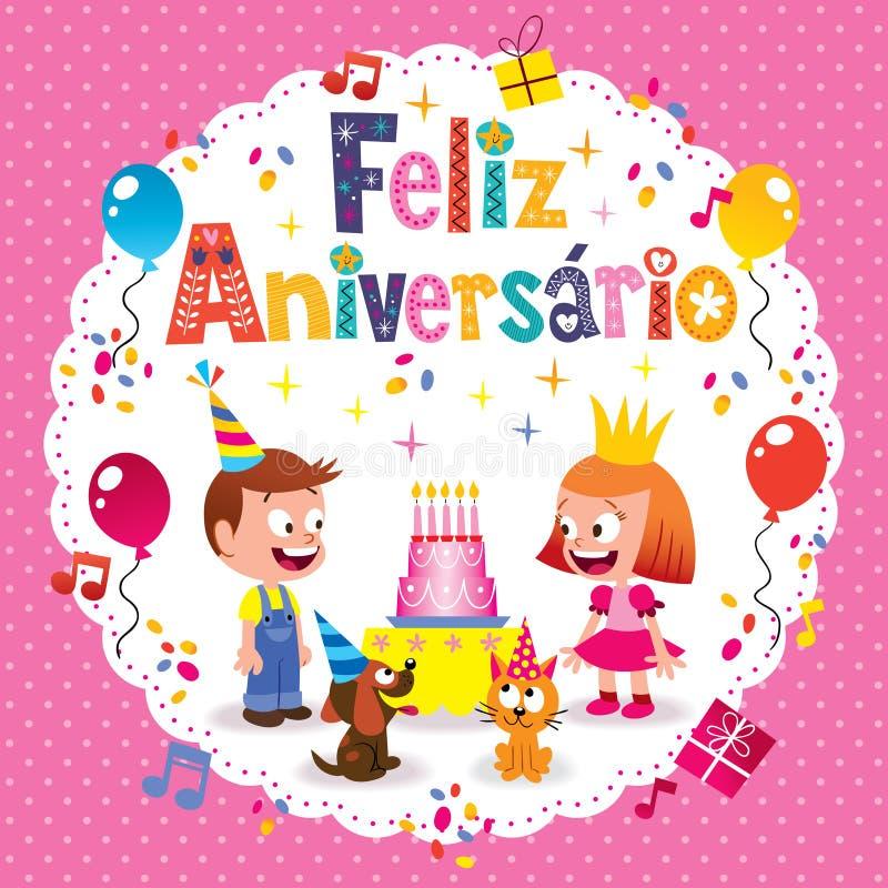 Cartão de aniversário de Feliz Aniversario Brazilian Portuguese Happy ilustração do vetor