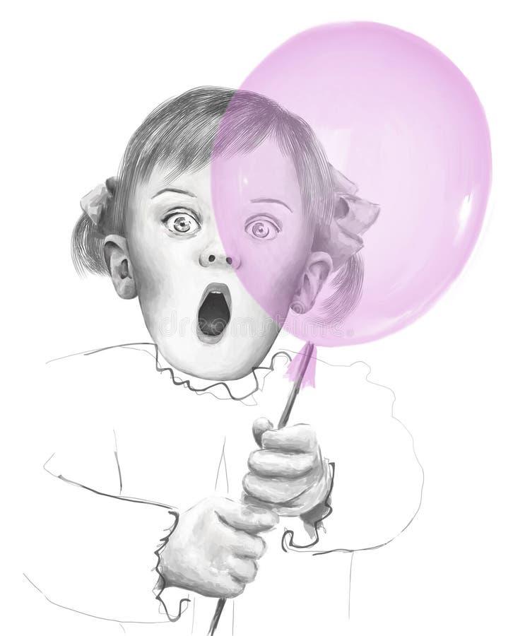 Cartão de aniversário Ilustração emocional do ` s das crianças imagens de stock