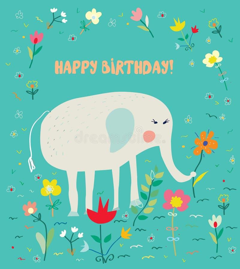 Cartão de aniversário para crianças com elefante e flores - projeto engraçado ilustração do vetor