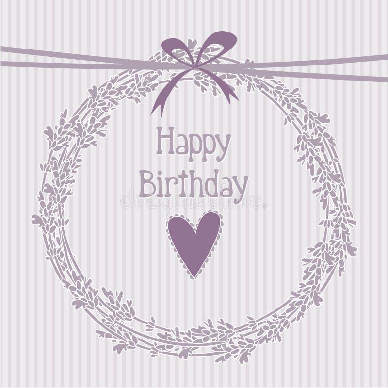 Cartão de aniversário romântico com grinalda da alfazema ilustração stock