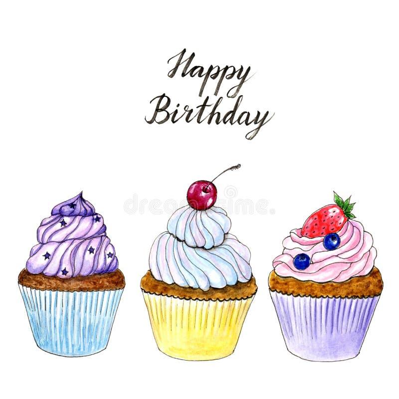 Cartão de aniversário tirado mão dos queques da aquarela três ilustração do vetor