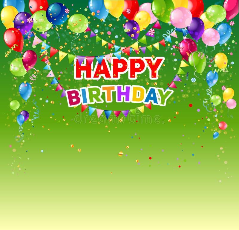 Cartão de aniversário verde ilustração royalty free